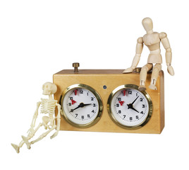 Person and Skeleton with a Chess Game Timer