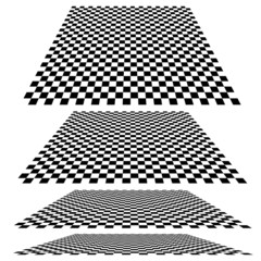 Checkered planes in different angles. Vector.