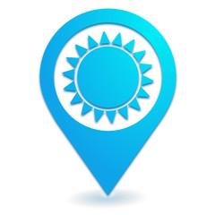soleil sur symbole localisation bleu