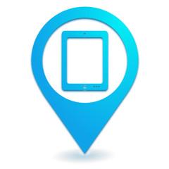 tablette numérique sur symbole localisation bleu