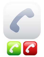 Reciever icons. Pick up, end call or online, offline versions.