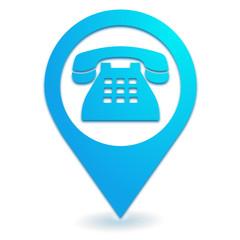 téléphone fixe sur symbole localisation bleu