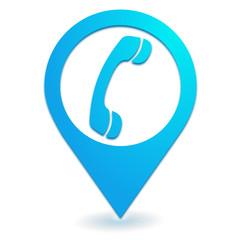 téléphone sur symbole localisation bleu