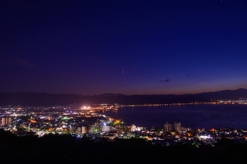 Night view of the city of Suwa