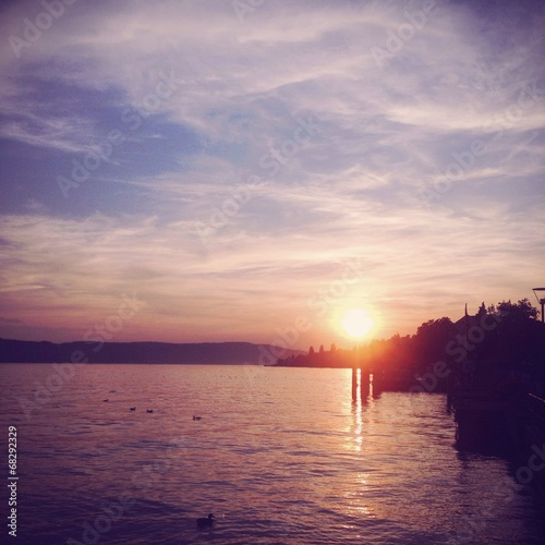 canvas print picture Sonnenuntergang am Bodensee
