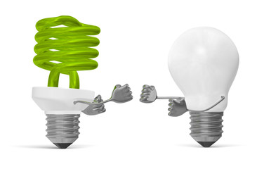Green spiral light bulb and white tungsten one fighting