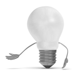 White tungsten light bulb character making inviting gesture