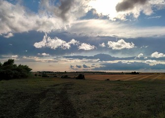 Sunlit clouds over distant harvest field