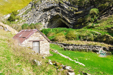 Mountain hut and Arpea cave, Pyrenees