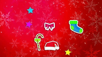 Christmas Ornament Pack Set Red Background Loop Animation
