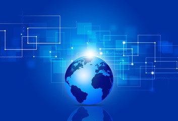 Business Technology Connections Blue Background