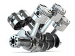 Leinwanddruck Bild Crankshaft V6 engine