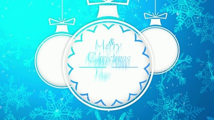 Simple Bauble Merry Christmas Happy New Year Blue Background