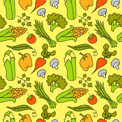 Hand Drawn Vegetables Seamless