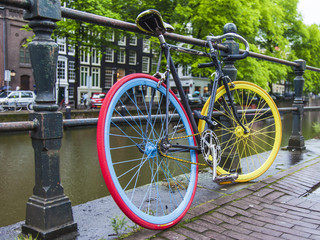 Amsterdam, Netherlands. Bicycles are parked on the city street