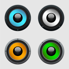 Set of four colorful speakers - realistic illustration