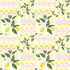 Patchwork seamless pattern with lemons and flowers