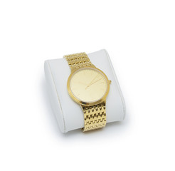 golden modern wrist watch isolated