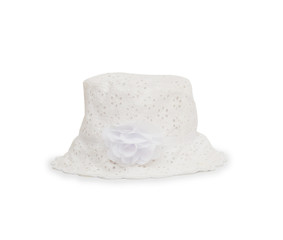 White hat with flower on white background