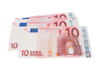 ten euro banknotes isolated on white background