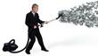 businessman collects money Vacuum
