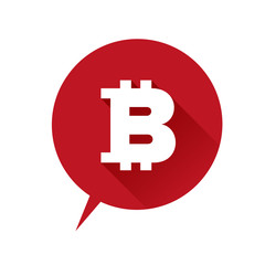 Bitcoin icon speech bubble red