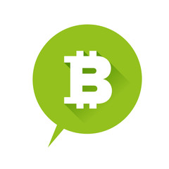 Bitcoin icon speech bubble green