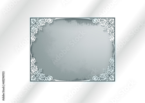 Vintage white frame with shadow