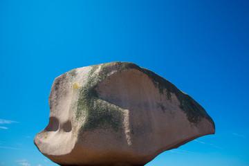 Pink Rock in Tregastel in pink granite coast.