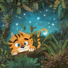 tigre en la selva de noche