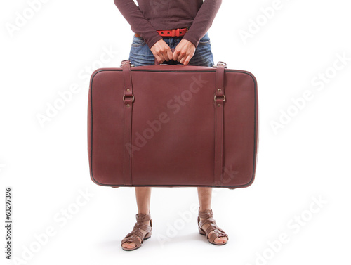 woman holding a suitcase