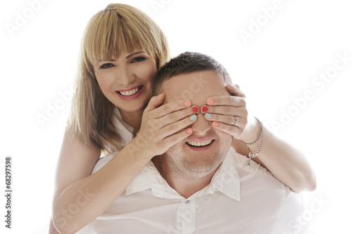 canvas print picture Playful laughing romantic couple