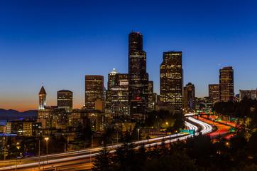 Seattle Skyline and Freeways at Dusk