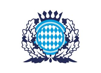 Bayern Wappen mit Kranz und Krone