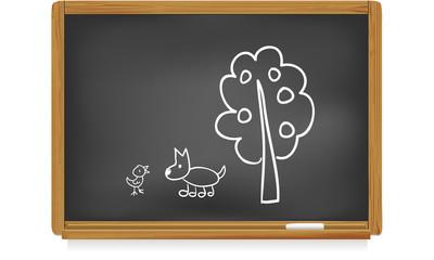 Tableau d'école : chien et poussin