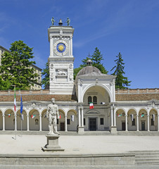 Clock tower and main square of Udine, Italy