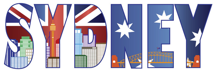 Sydney Text Outline with Skyline Color Vector Illustration