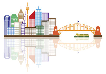 Sydney Australia Skyline Color Vector Illustration