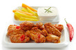 fried chicken wings and vegetables