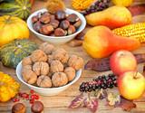 Autumn harvest - Autumn fruitage on table poster