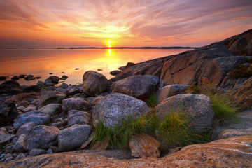 Summer evening seascape in Porkkala, Finland