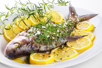 Seasoned bream fish on dish ready to cook