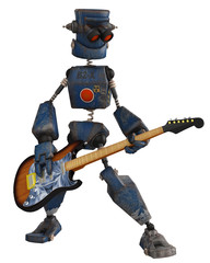 old robot playing guitar