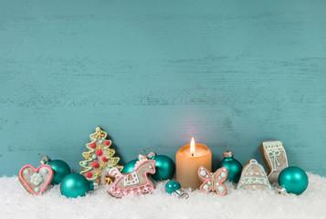 Weihnachten Dekoration: Hintergrund dekoriert mit Lebkuchen
