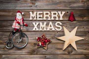 Merry Xmas - Weihnachtskarte mit Weihnachtsmann in Rot