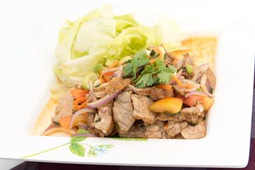 "Beef Salad with juicy dressing, thai call ""Yum Neua"""