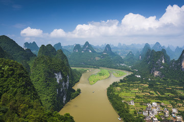Xingping, China Landscape at Li River and Karst Mountains