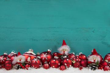 Weihnachtsgutschein: Hintergrund in rot, türkis, Holz