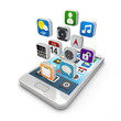 Smartphone apps, touchscreen smartphone with application icons