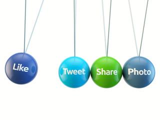 social media cradle - like, tweet, share, photo, friend